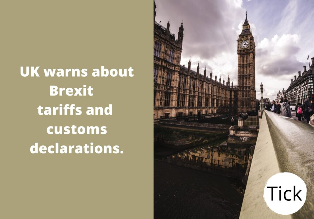 UK warns about Brexit tariffs and customs declarations