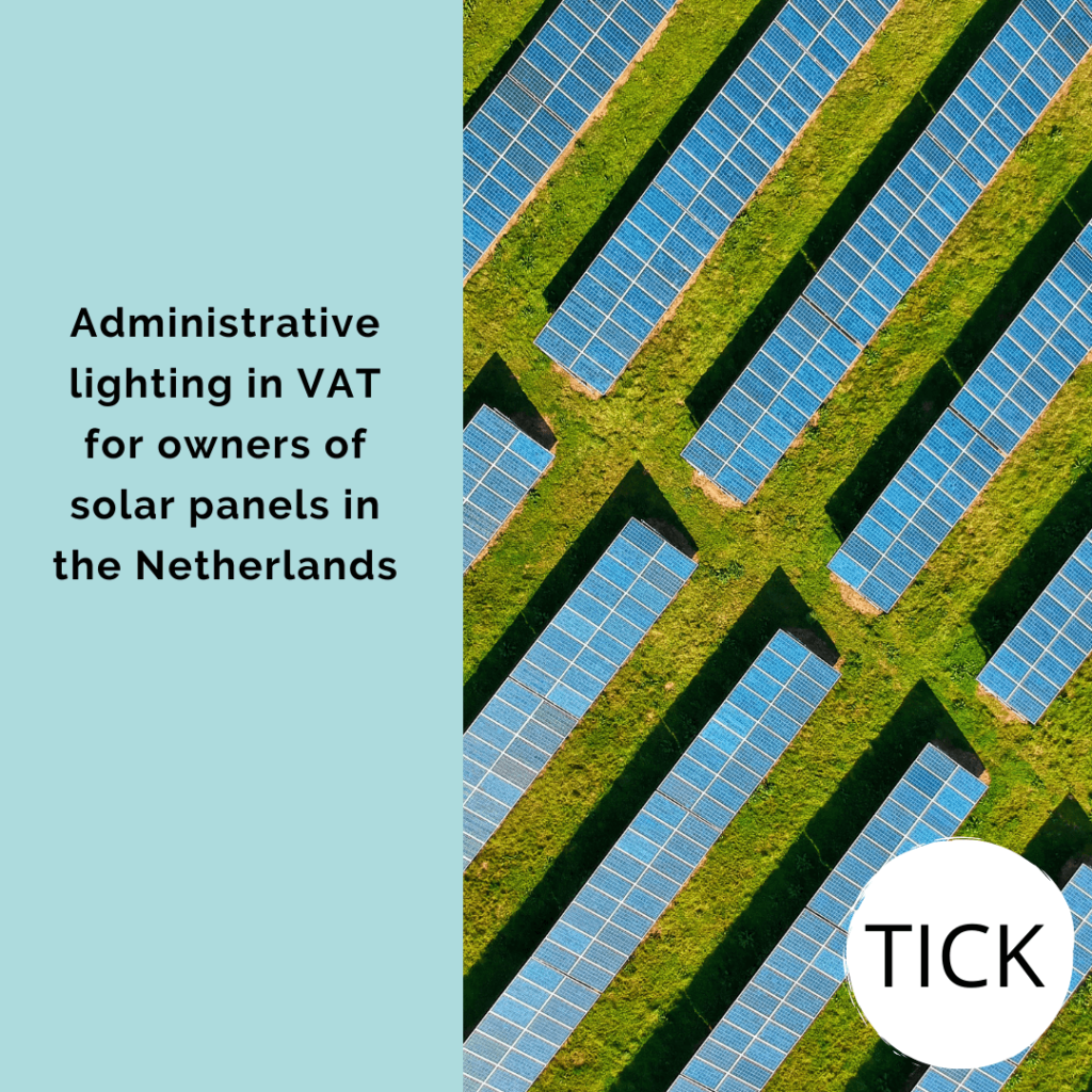 Administrative lighting in VAT for owners of solar panels in the Netherlands